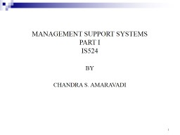 1 MANAGEMENT SUPPORT SYSTEMS
