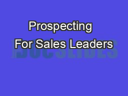 Prospecting  For Sales Leaders