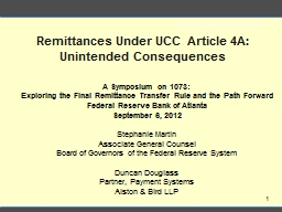 Remittances Under UCC Article 4A: