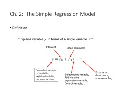 Ch. 2:  The Simple Regression Model PowerPoint PPT Presentation