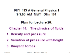 11/05/2012 PHY 113 A  Fall 2012 -- Lecture 26 PowerPoint PPT Presentation