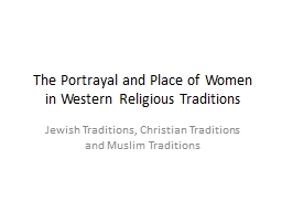 The Portrayal and Place of Women in Western Religious Traditions