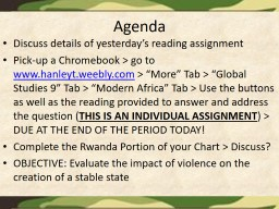 Agenda Discuss details of yesterday's reading assignment PowerPoint PPT Presentation