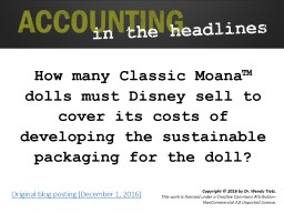 How many Classic Moana� dolls must Disney sell to cover its costs of developing the sustainable p