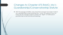 Changes to Chapter 475  RsMO