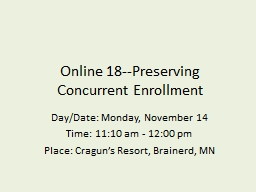 Online 18--Preserving Concurrent Enrollment