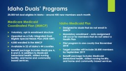 Idaho Duals' Programs Medicare Medicaid Coordinated Plan (MMCP)