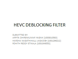 HEVC DEBLOCKING FILTER SUBMITTED BY: