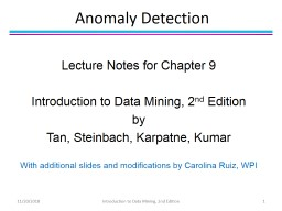 Anomaly Detection Lecture Notes for Chapter