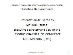 LESOTHO CHAMBER OF COMMERCE AND INDUSTRY
