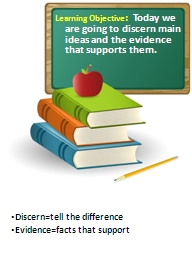 Learning Objective :   Today we are going to discern main ideas and the evidence that supports them