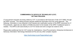 COMMONWEALTH OFFICE OF TECHNOLOGY (COT)