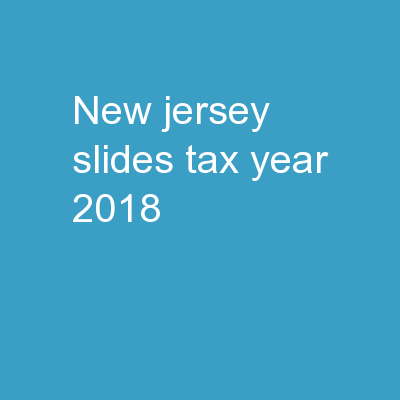New Jersey Slides Tax Year 2018