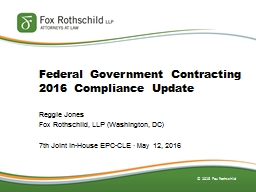 Federal Government Contracting 2016 Compliance Update