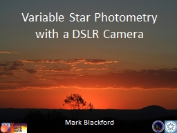 Variable Star Photometry with a DSLR Camera
