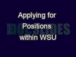 Applying for Positions within WSU