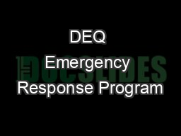 DEQ Emergency Response Program