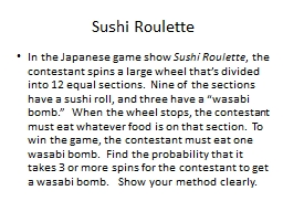 Sushi Roulette In the Japanese game show