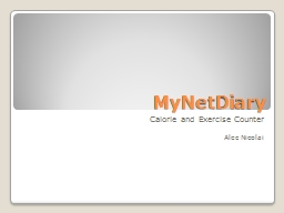 MyNetDiary Calorie and Exercise Counter