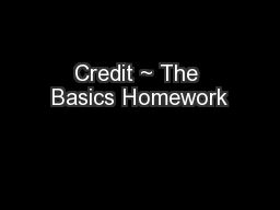 Credit ~ The Basics Homework