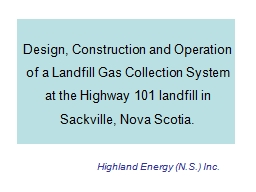 Design, Construction and Operation of a Landfill