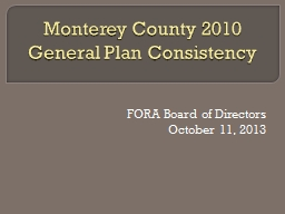Monterey County 2010 General Plan Consistency