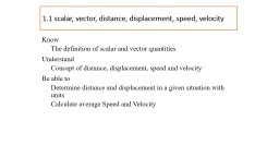 1.1 scalar, vector, distance, displacement, speed, velocity