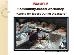 EXAMPLE Community-Based Workshop