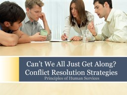 Can't We All Just Get Along? Conflict Resolution Strategies