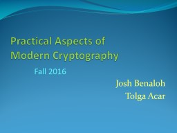 Practical Aspects of        Modern Cryptography PowerPoint PPT Presentation