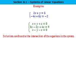 Examples Section 8.1 – Systems of Linear Equations