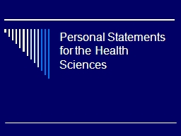 Personal Statements for the Health Sciences