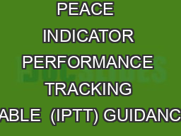 1 FOOD FOR PEACE  INDICATOR PERFORMANCE TRACKING TABLE  (IPTT) GUIDANCE