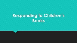 Responding to Children's Books
