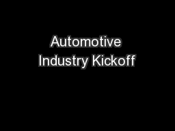 Automotive Industry Kickoff