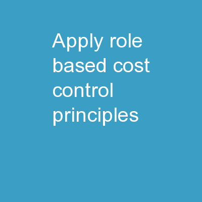 Apply Role-Based Cost Control Principles