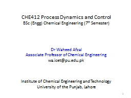 CHE412 Process  Dynamics