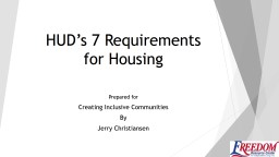 HUD's 7 Requirements for Housing