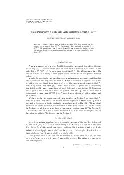 MATHEMATICS OF COMPUTATION Volume  Number  Pages  S XX ODD PERFECT NUMBERS ARE GREATER THAN   PASCAL OCHEM AND MICHA EL RAO Abstract