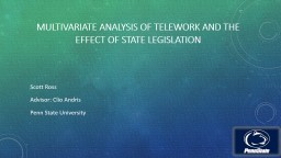 Environmental, POPULATION, AND POLICY FACTORS INFLUENCING TELEWORK