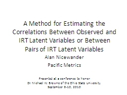 A Method for Estimating the Correlations Between Observed and IRT Latent Variables or Between Pairs