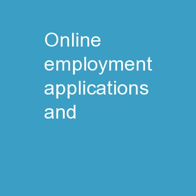 Online Employment Applications and