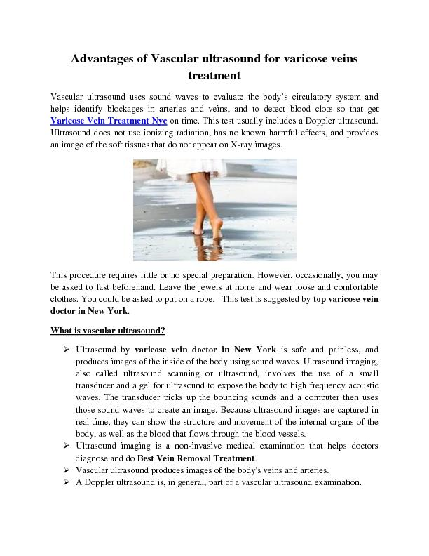 Advantages of Vascular ultrasound for varicose veins treatment