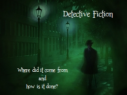 Detective Fiction Where did it come from