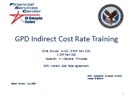 GPD Indirect Cost Rate Training