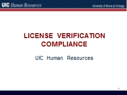 LICENSE VERIFICATION COMPLIANCE