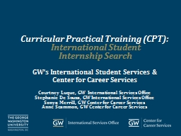 Curricular Practical Training (CPT):