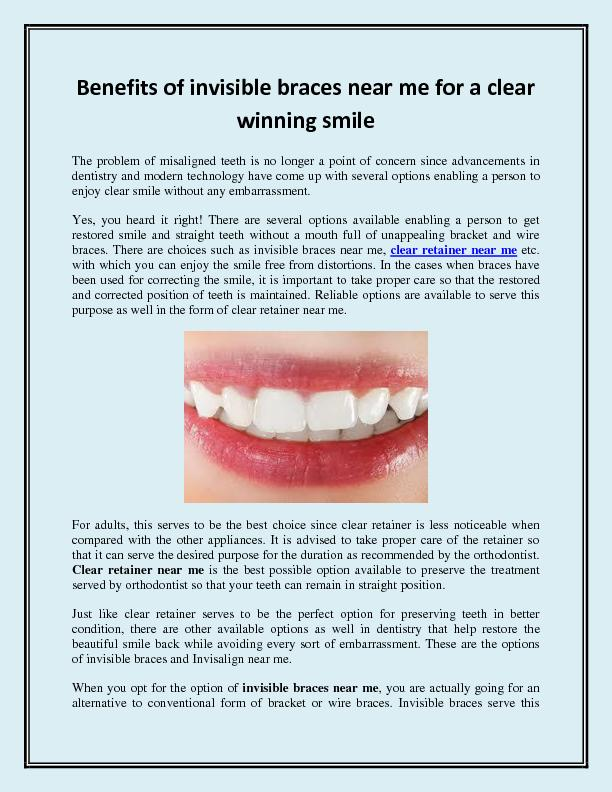 Benefits of invisible braces near me for a clear winning smile