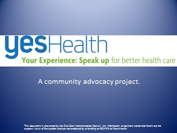 YES Health A community advocacy project.