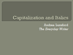 Capitalization and Italics